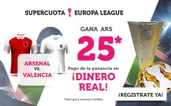 Supercuota wanabet Europa League : Valencia gana al Arsenal a cuota 25.