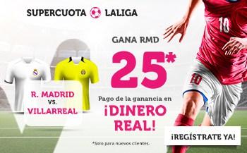 Supercuota Wanabet La Liga : Real Madrid gana al Villarreal a cuota 25.