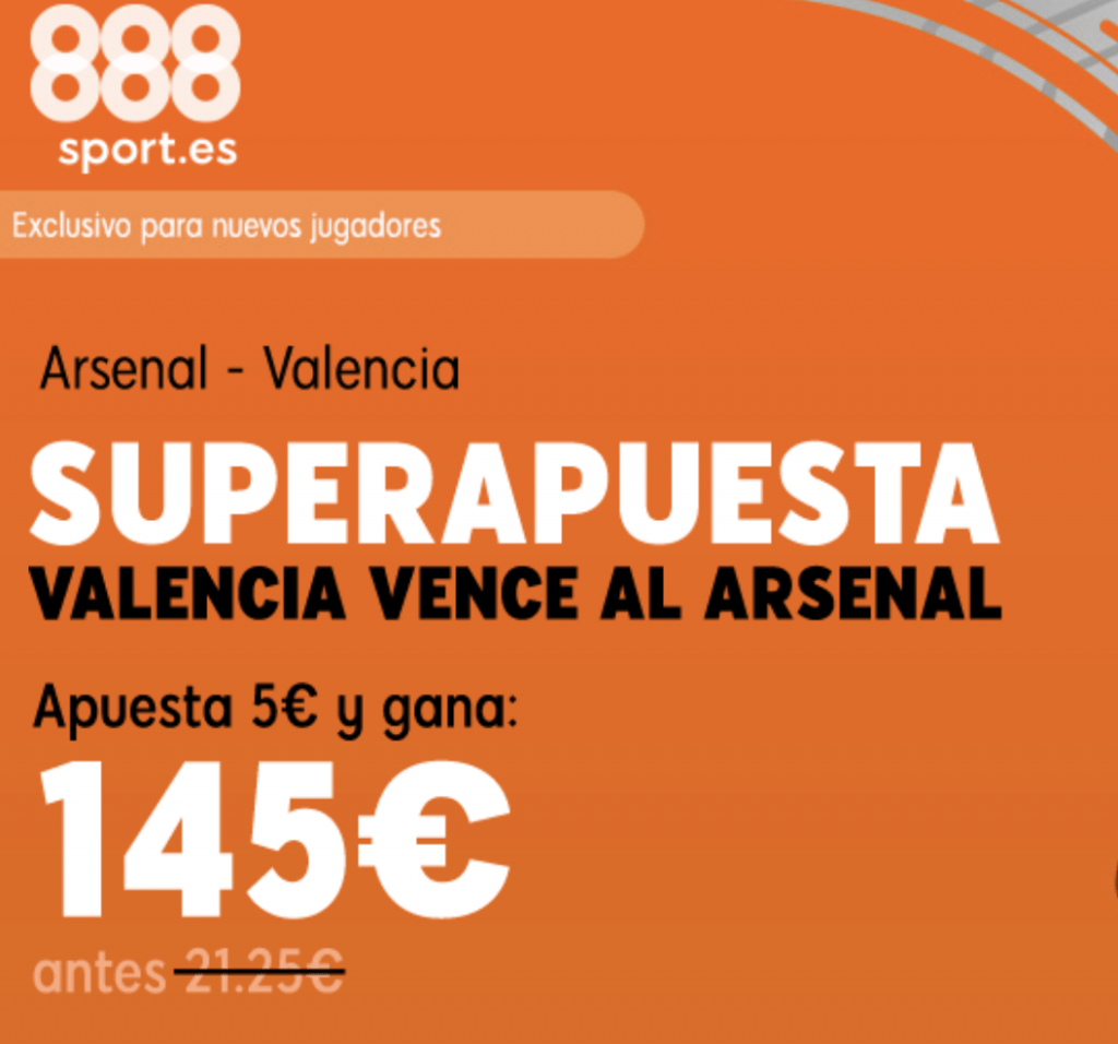 Superapuesta Europa League: Valencia gana al Arsenal a cuota 29.