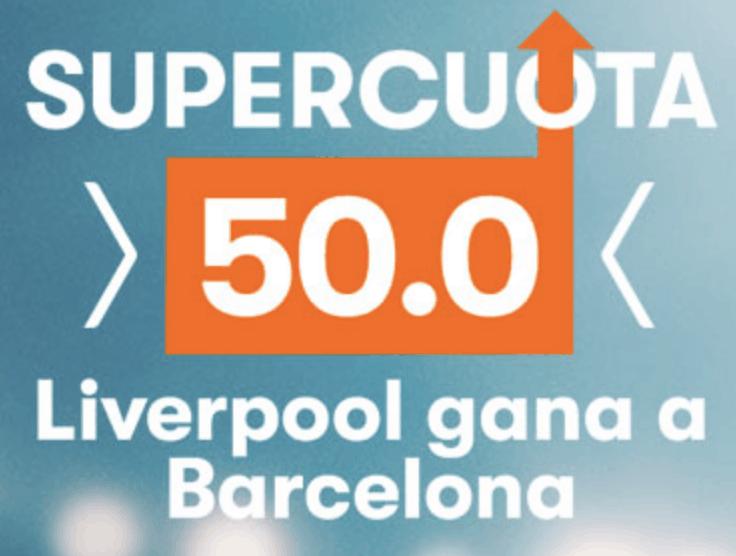 Supercuota Betsson Champions League Liverpool gana al Barcelona a cuota 50.