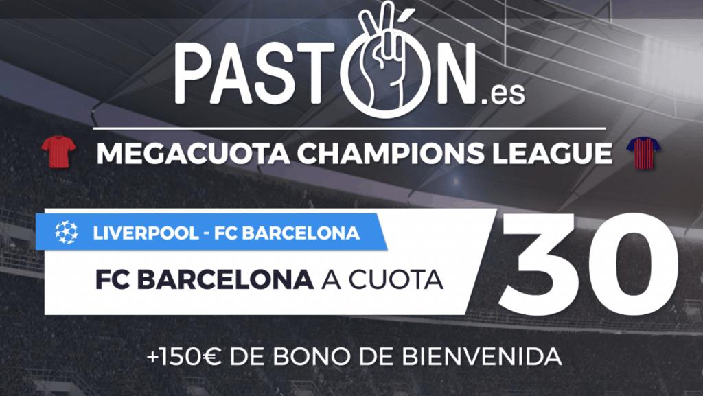 Supercuota pastón Champions League : FC Barcelona gana al Liverpool a cuota 30.