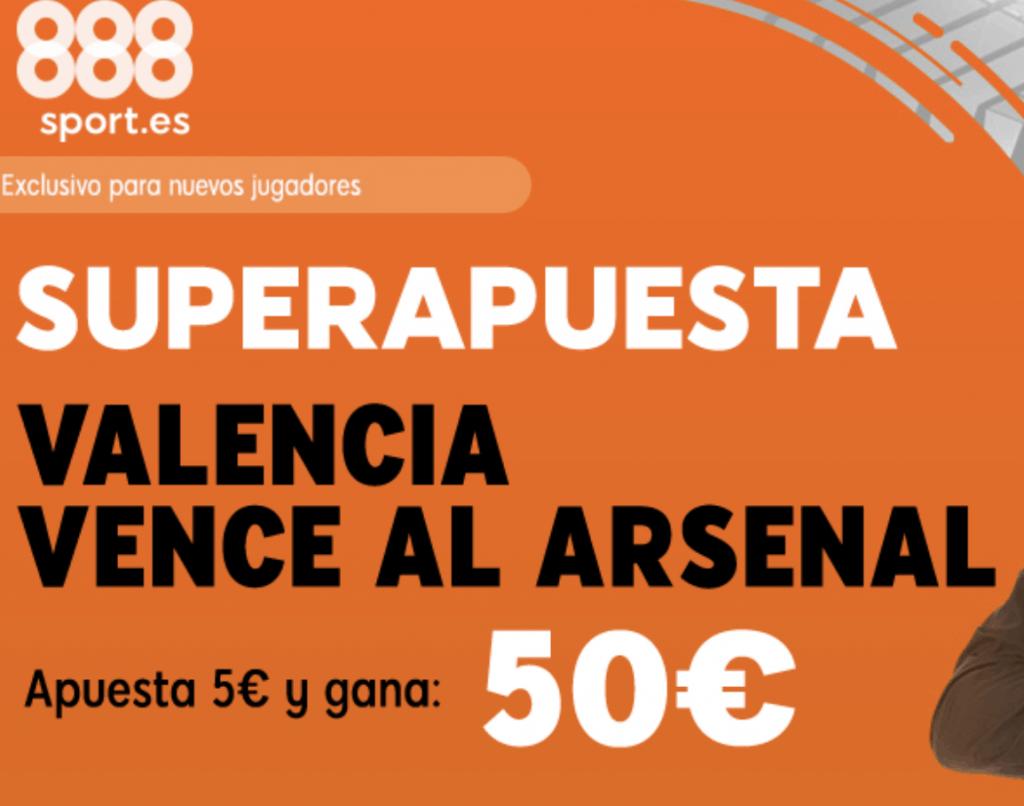 Supercuota 888sport Europa League : Valencia gana al Arsenal a cuota 10.