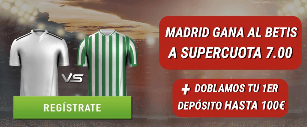 Supercuota Sportium La Liga : Real Madrid gana al Real Betis a cuota 7.
