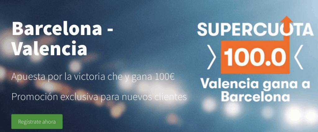 Supercuota betsson final Copa del Rey Valencia gana al Barcelona a cuota 100.