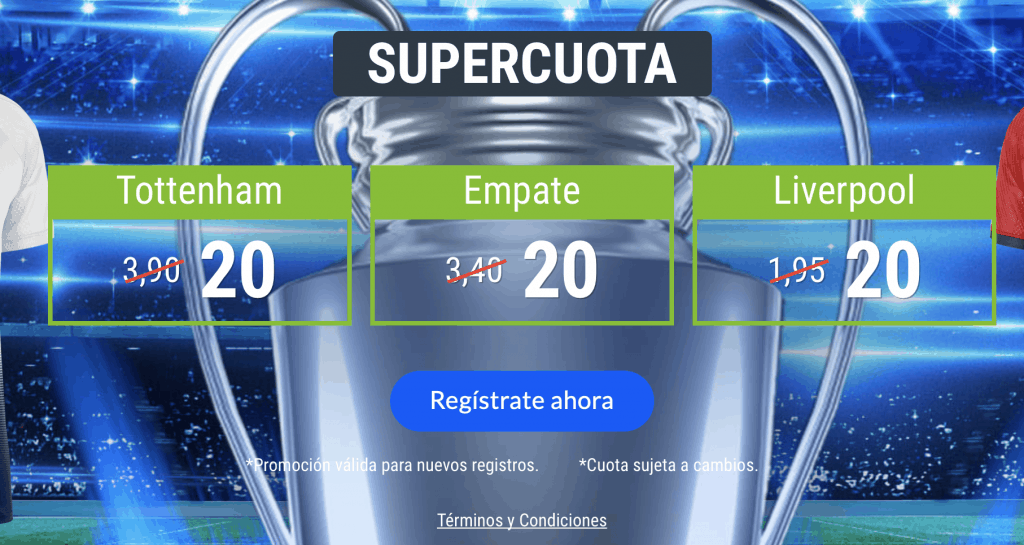 Supercuota Codere Final Champions League : Tottenham - Liverpool.