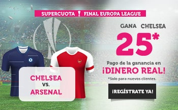 Supercuota Wanabet Final Europa League : Chelsea gana al Arsenal a cuota 25.