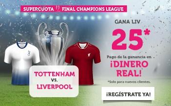 Supercuota Wanabet Final Champions League : Liverpool gana al Tottenham a cuota 25.