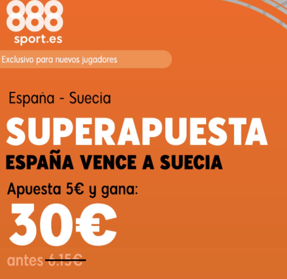 Superapuesta 888sport España gana a Suecia a cuota 6.