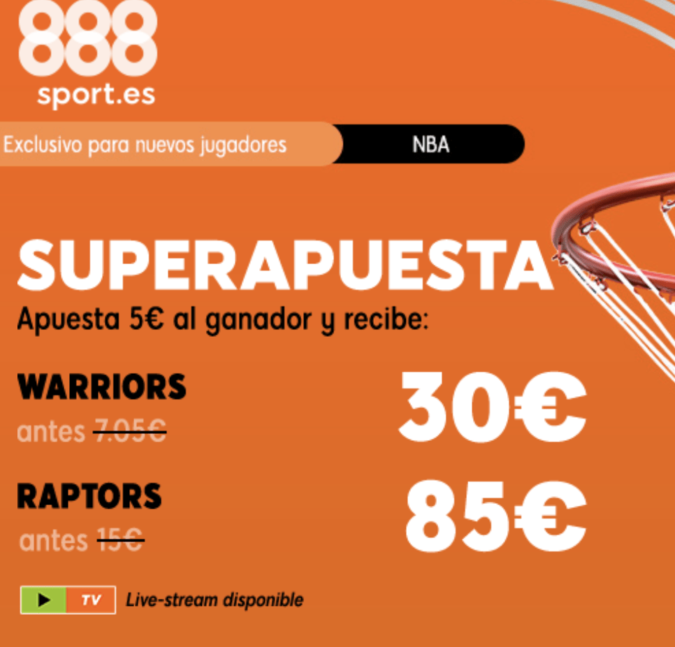Superapuesta 888sport Final NBA : Tercer partido Toronto Raptors - Golden State Warriors.