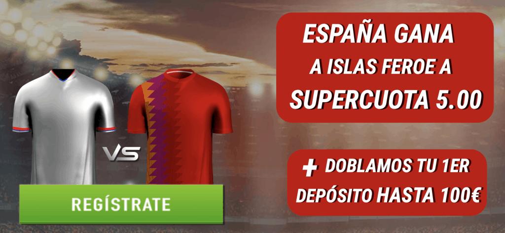 Supercuota Sportium España gana a las Islas Feroe a cuota 5.