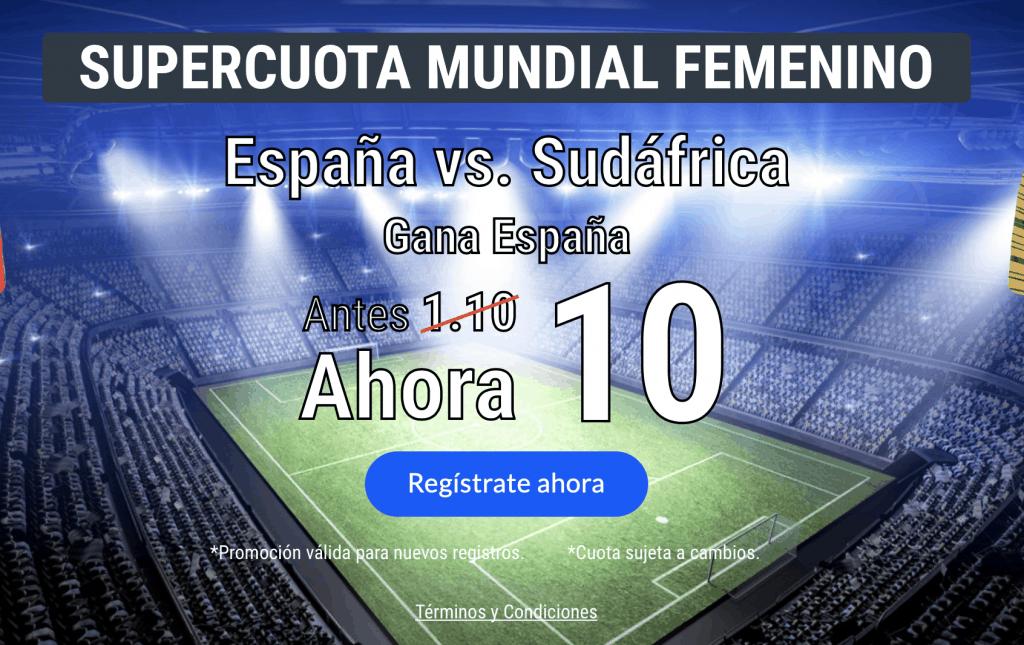 Supercuota Codere Mundial Femenino España gana a Sudáfrica a cuota 10.