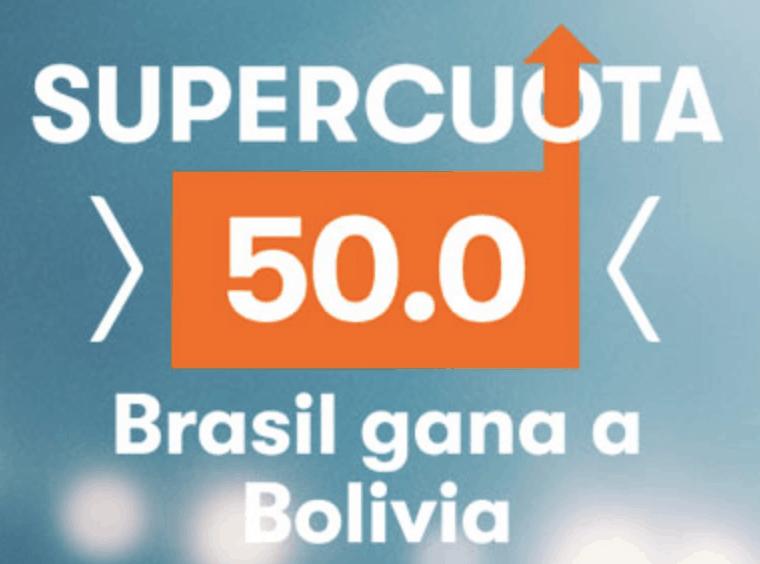 Supercuota Betsson Copa América Brasil gana a Bolivia a cuota 50.