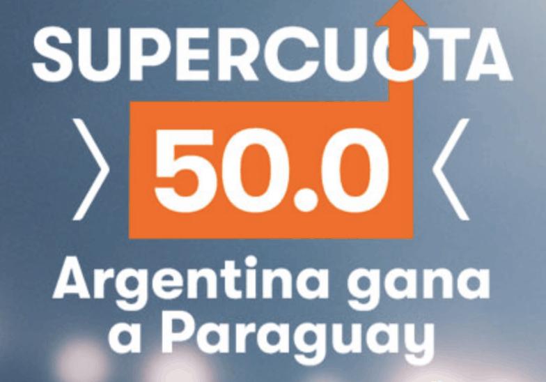 Supercuota Betsson Copa América : Argentina gana a Paraguay a cuota 50.
