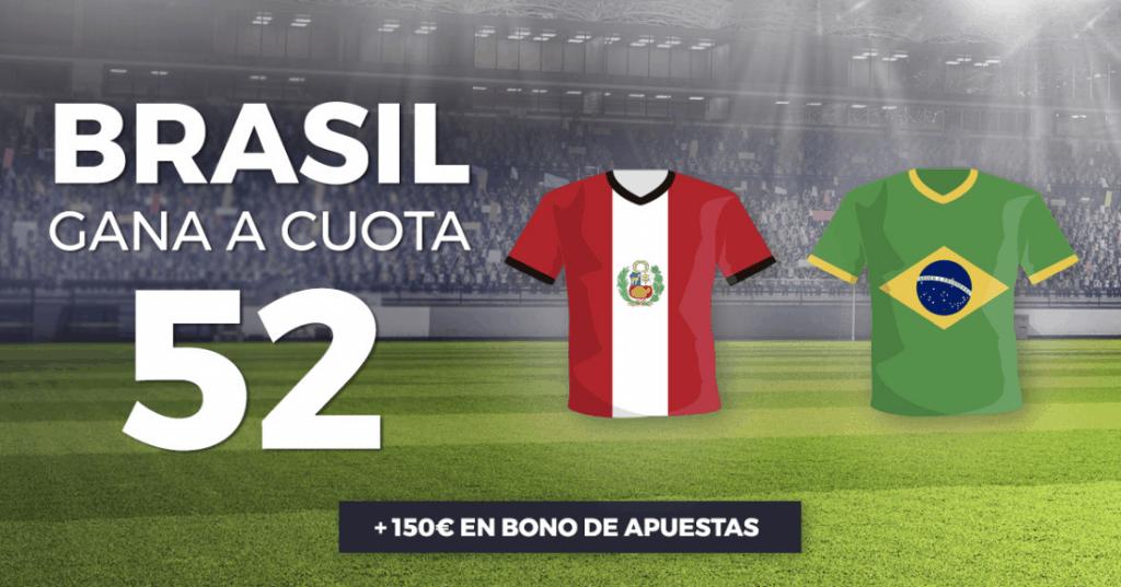 Supercuota Pastón Copa América : Brasil gana a Perú a cuota 52.