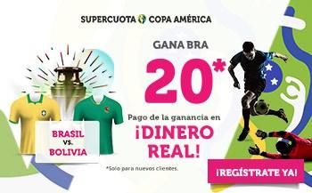 Supercuota Wanabet Copa América : Brasil gana a Bolivia a cuota 20.