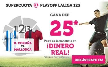 Supercuota Wanabet Deportivo gana al Mallorca a cuota 25.