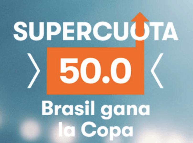 Supercuota betsson Brasil gana Copa América a cuota 50.