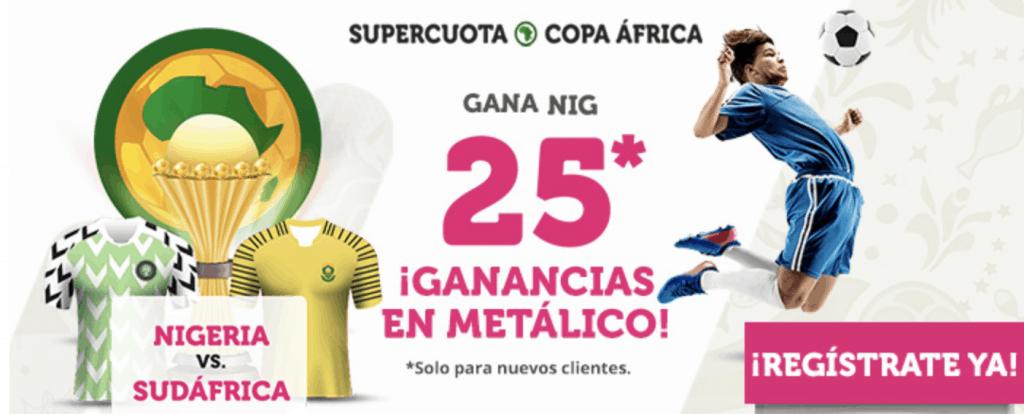 Supercuota Wanabet Copa África : Nigeria gana a Sudáfrica a cuota 25.