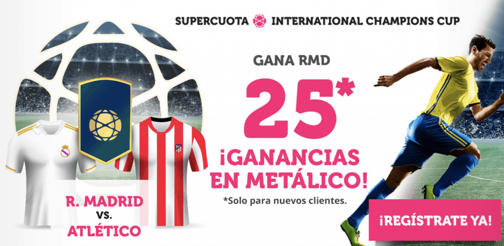 Supercuota Wanabet Real Madrid gana al Atlético de Madrid a cuota 25.
