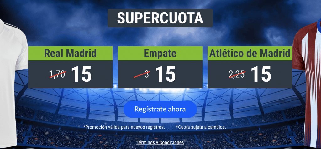 Supercuota Codere derbi : Real Madrid - Atlético de Madrid. Elige a cuota 15.
