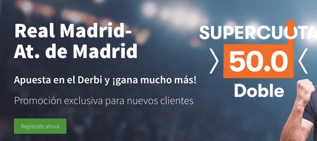 Supercuota Betsson Real Madrid - Atlético de Madrid , elige ganador a cuota 50.