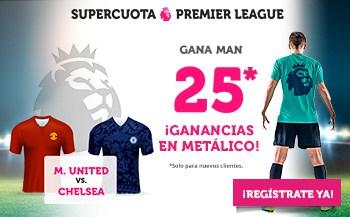 Supercuota Wanabet Premier League Manchester United gana al Chelsea a cuota 25.