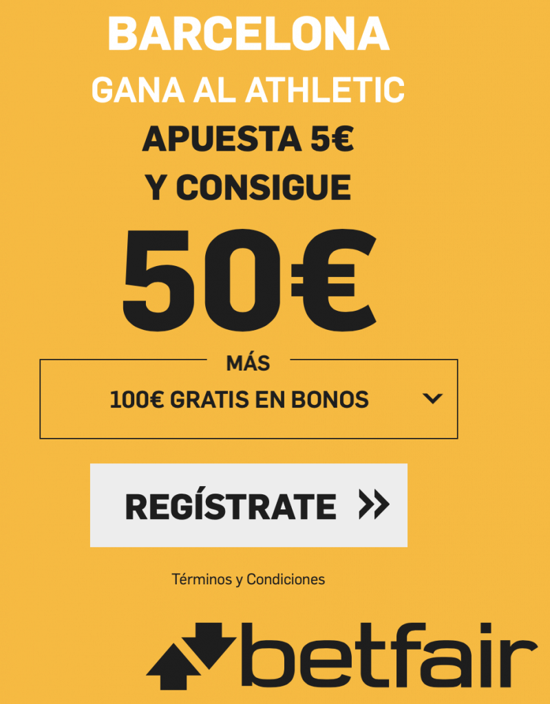 Supercuota betfair La Liga : FC Barcelona gana al Athletic a cuota 10.