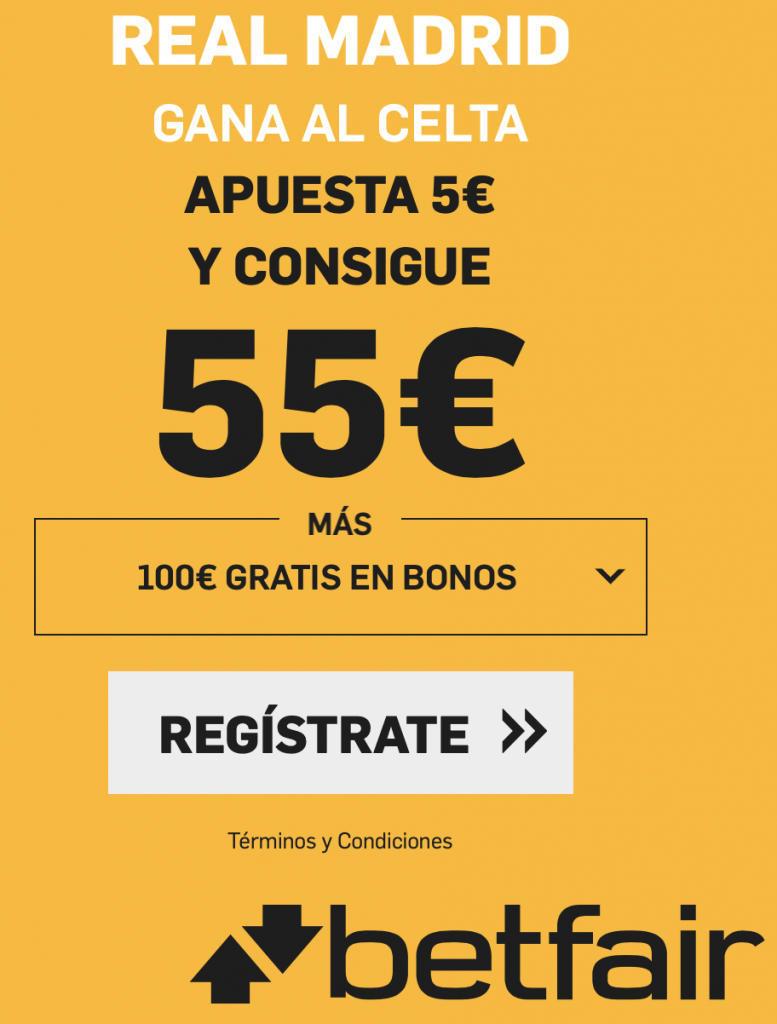 Supercuota betfair La Liga : Real Madrid gana al Celta a cuota 11.