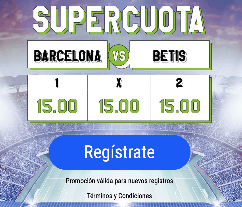 Supercuota Codere La Liga : FC Barcelona - Real Betis. Elige ganador o empate a cuota 15.