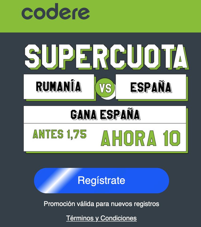 Supercuota Codere España gana a Rumanía a cuota 10.