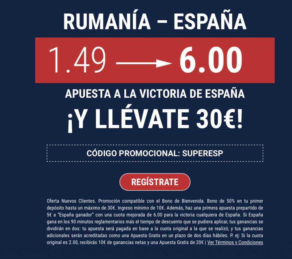 Supercuota Marathobet.es , Rumanía - España. España gana a cuota 6.