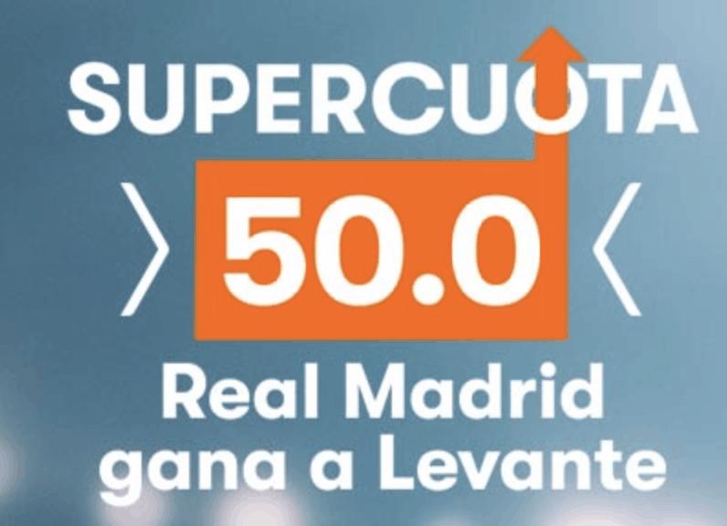 Supercuota Betsson Real Madrid gana al Levante a cuota 50.