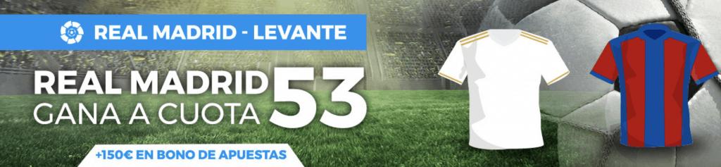 Supercuota pastón La Liga : Real Madrid gana al Levante a cuota 53.