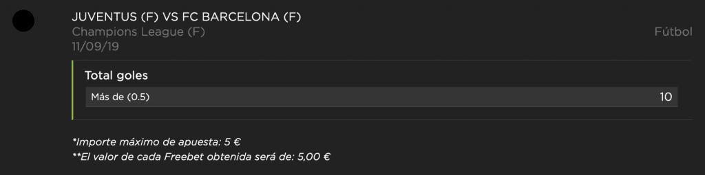 Supercuota vivelasuerte : Juventus - FC Barcelona.