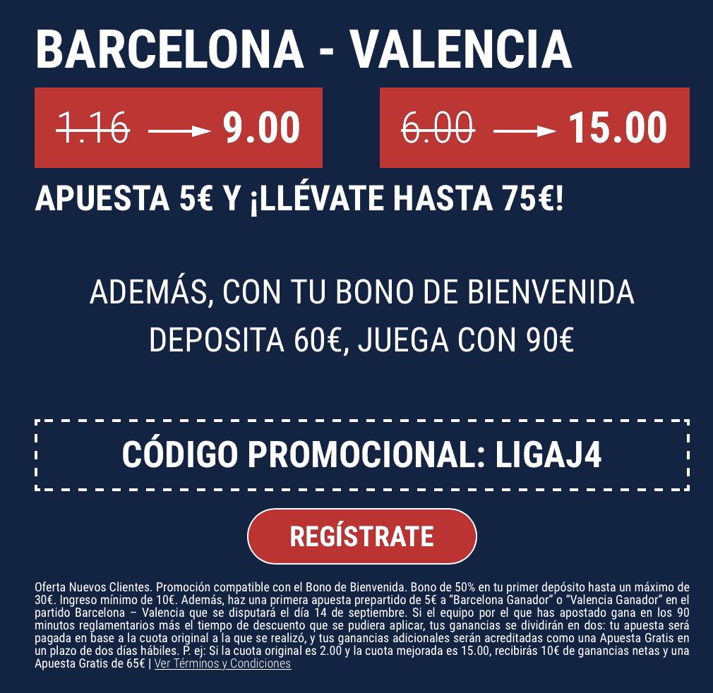 Supercuota Marathonbet Fc Barcelona - Valencia CF.
