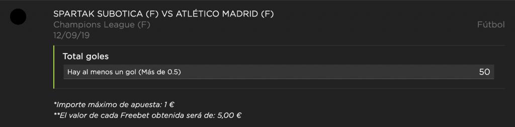 Supercuota vivelasuerte : Habrá gol en el Spartak Subotika - Atlético de Madrid a cuota 50.