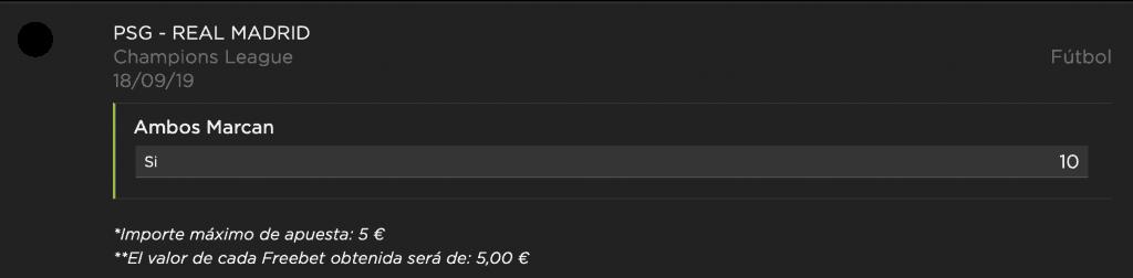 Supercuota Vivelasuerte Champions League PSG - Real Madrid.