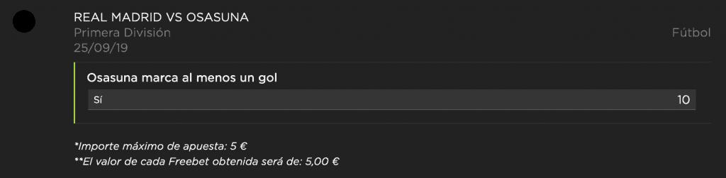 Supercuota vivelasuerte La Liga : Real Madrid - Osasuna.