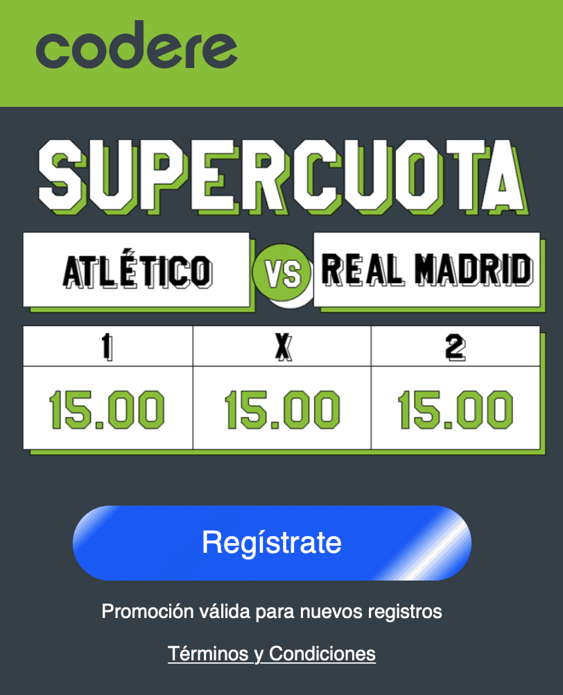 Supercuota Codere derbi : Atlético de Madrid - Real Madrid. Elige a cuota 15.