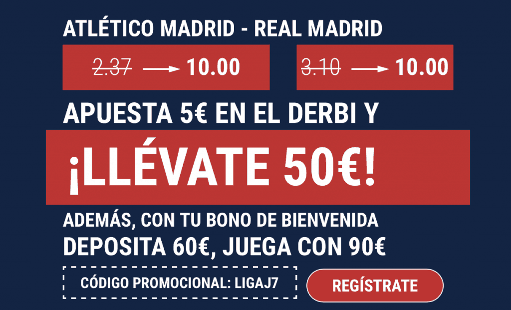 Supercuota Marathonbet Derbi Madrid : Atlético de Madrid - Real Madrid.