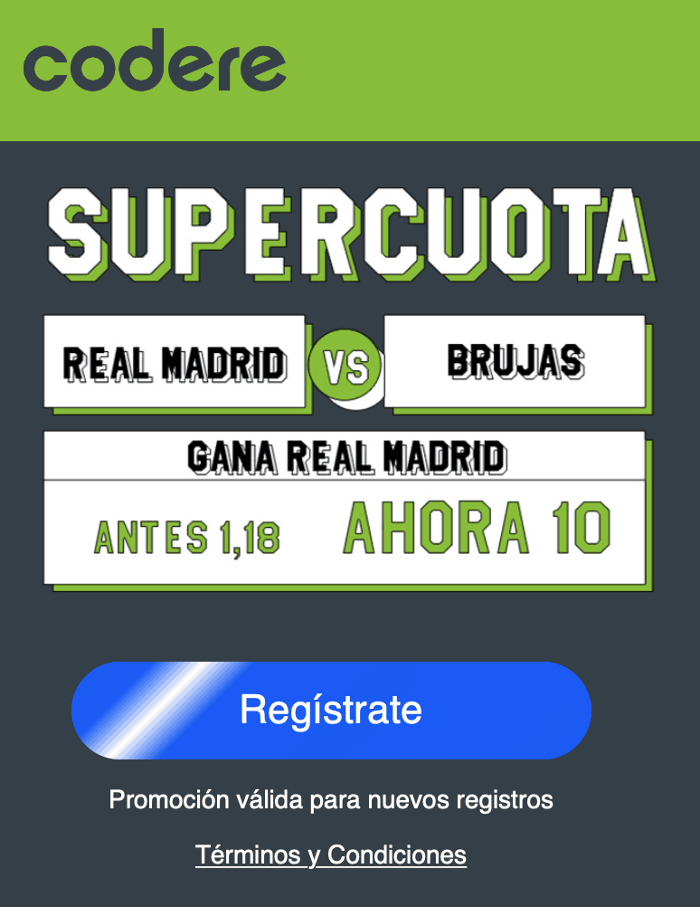 Supercuota Codere Champions Real Madrid gana a cuota 10.