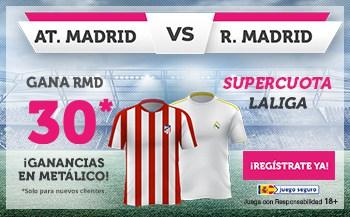 Supercuota wanabet Real Madrid gana al Atlético de Madrid a cuota 30.