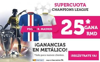 Supercuota wanabet Champions League : Real Madrid gana al PSG a cuota 25.