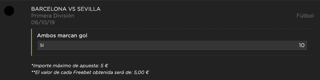 Supercuota Vivelasuerte La Liga : Fc Barcelona - Sevilla FC. Ambos marcan a cuota 10.