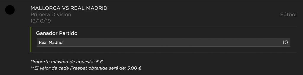 Supercuota vivelasuerte Real Madrid gana al Mallorca a cuota 10.