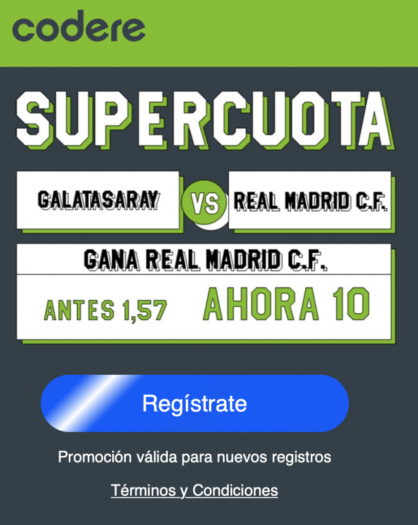 Supercuota Codere Champions League: Real Madrid gana al Galatasaray a cuota 10.
