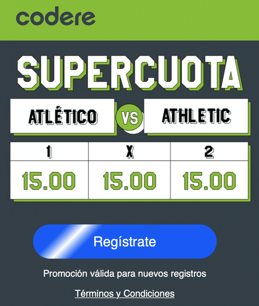 Supercuota Codere Atlético de Madrid gana a Athletic a cuota 15.