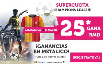 Supercuota wanabet Champions League : Real Madrid gana al Galatasaray a cuota 25.
