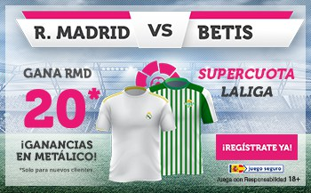 Supercuota wanabet Real Madrid gana al Real Betis a cuota 20.
