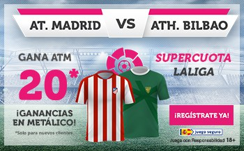 Supercuota wanabet Atlético de Madrid gana al Athletic a cuota 20.